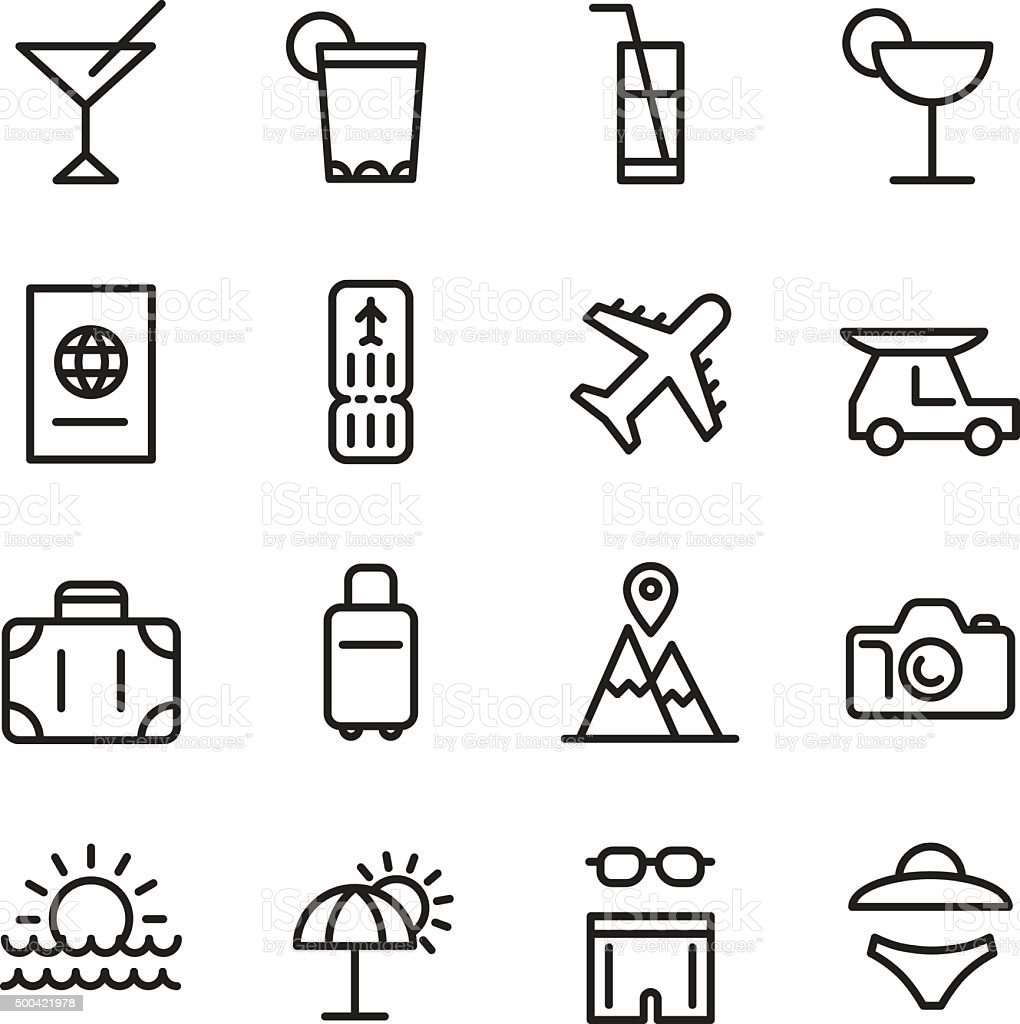 Travel and Tourism icons set vector art illustration