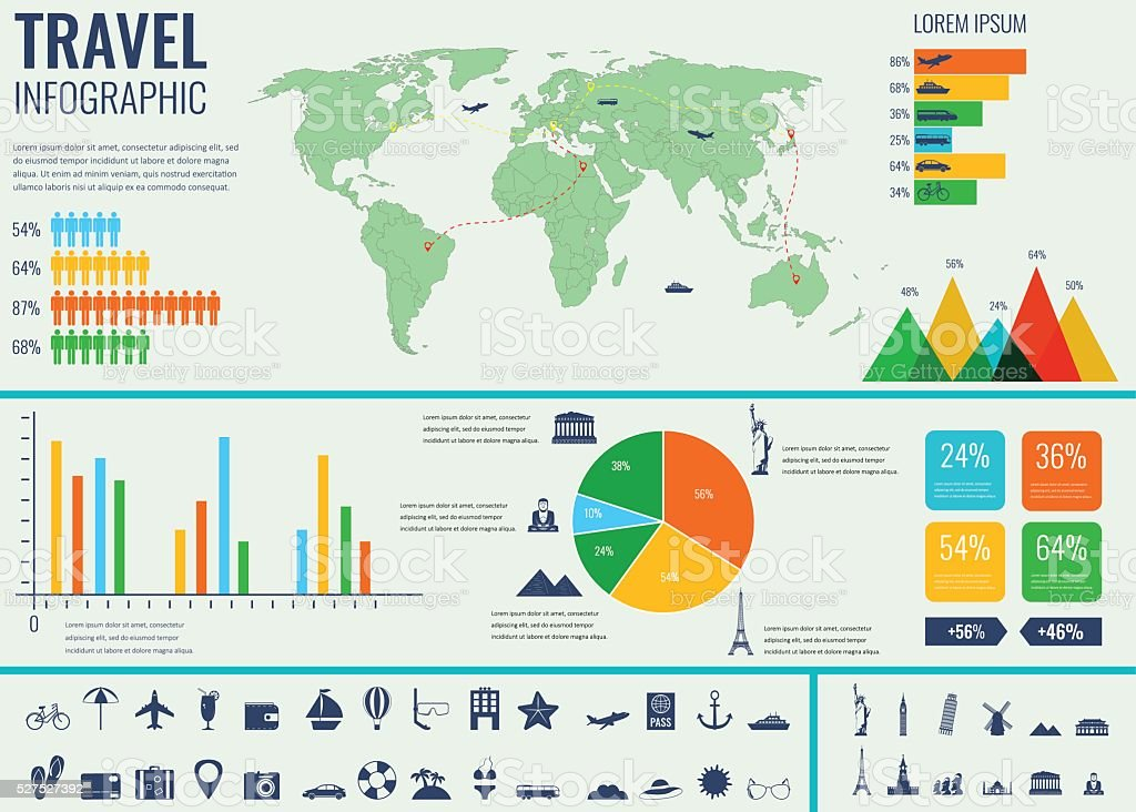 Travel and Tourism. Infographic set with charts and other elements. royalty-free stock vector art