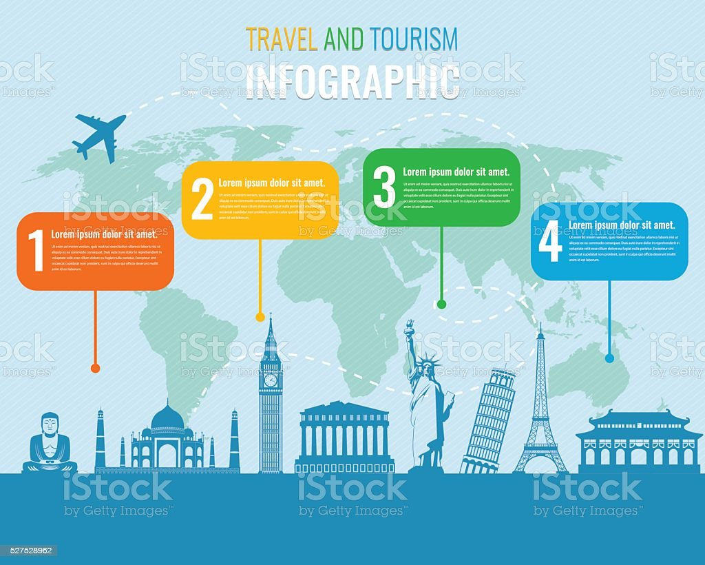 Travel and Tourism. Infographic set with landmarks. Vector illustration. royalty-free stock vector art