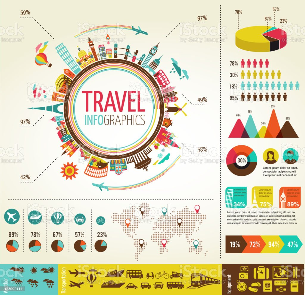 Travel and tourism infographics with data icons, elements vector art illustration