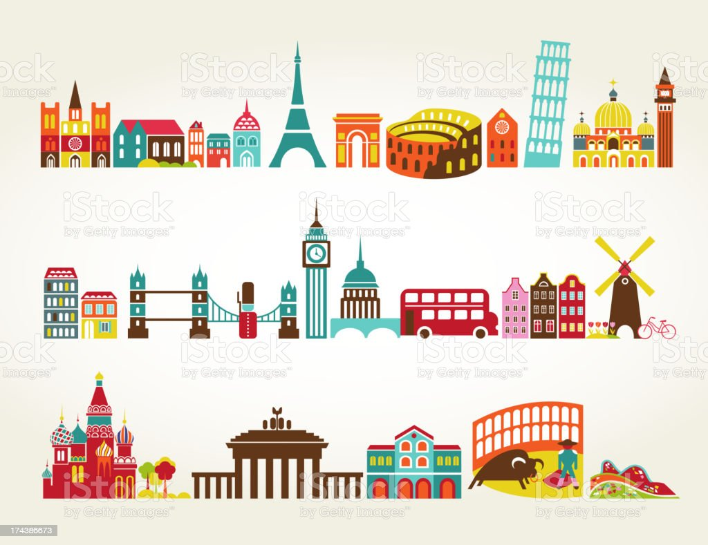 Travel and tourism locations vector art illustration