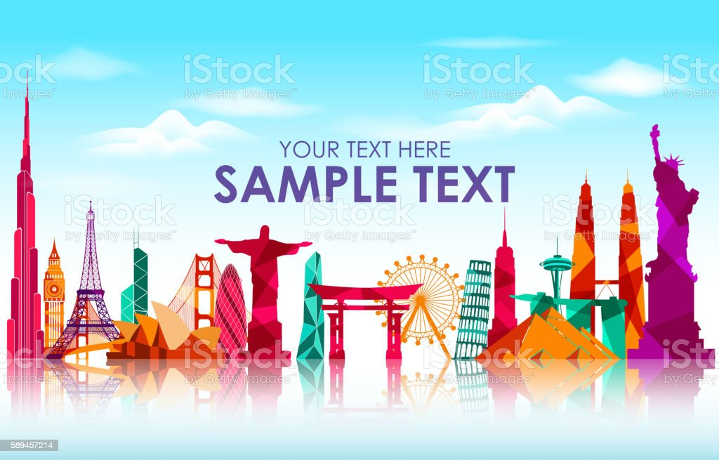 Travel and tourism on skyline background vector art illustration