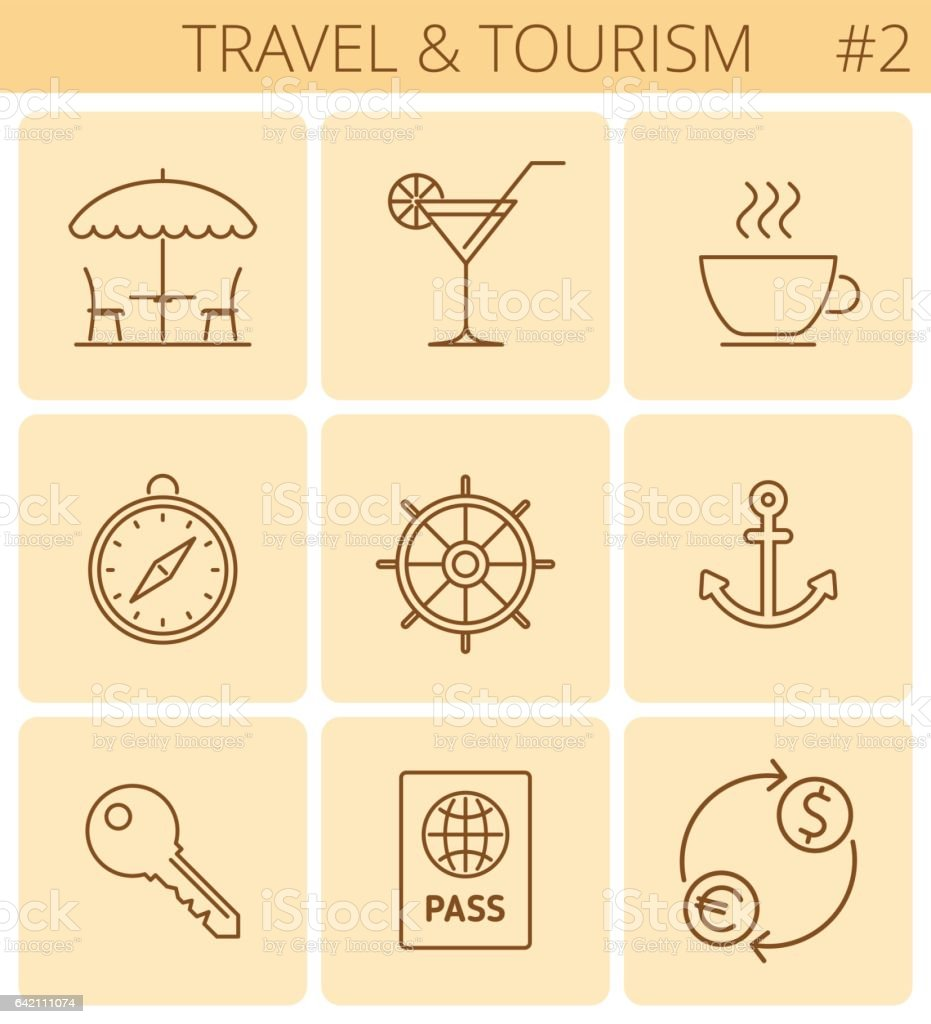Travel and tourism outline symbols. Vector thin line icon set. vector art illustration