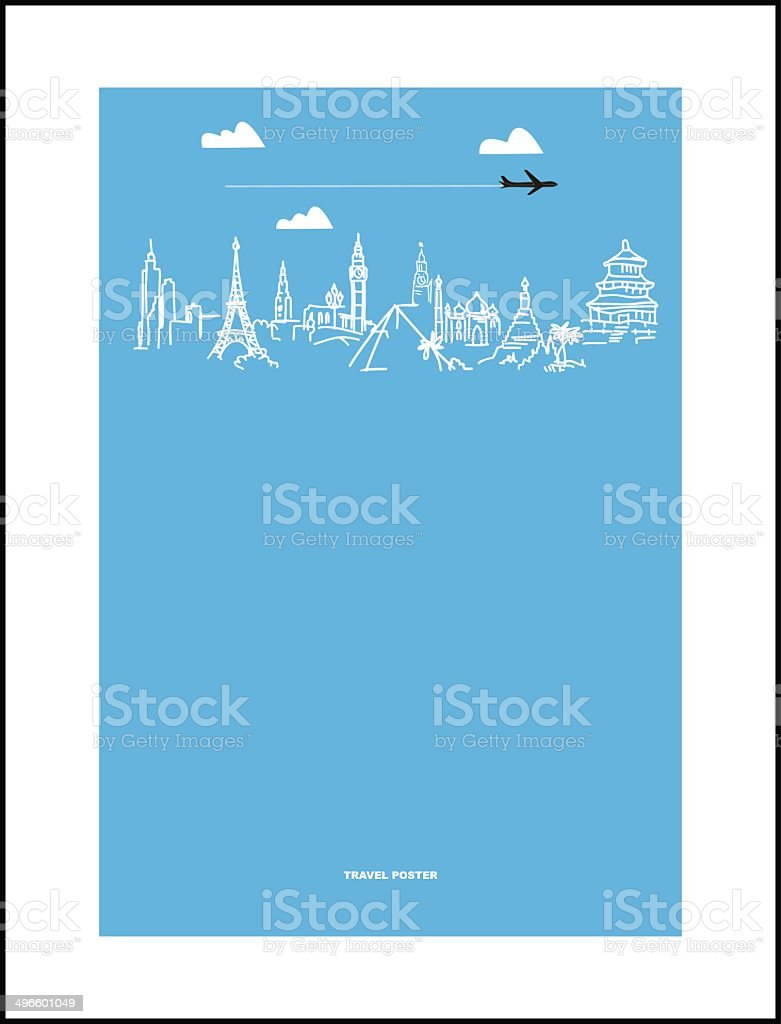 Travel and tourism poster . Drawn hands world attractions royalty-free stock vector art