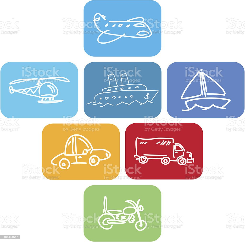 Travel and transport block icons royalty-free stock vector art