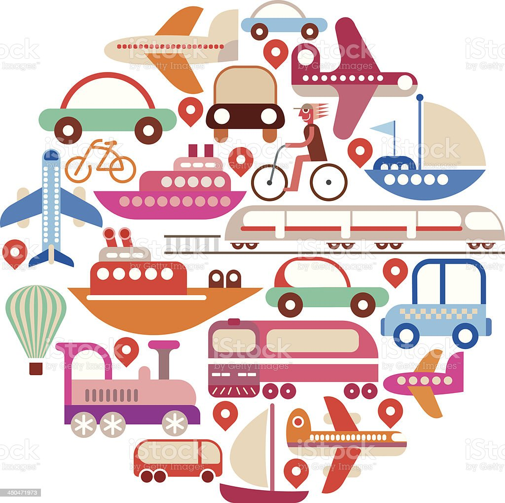 Travel and Transport - round vector royalty-free stock vector art