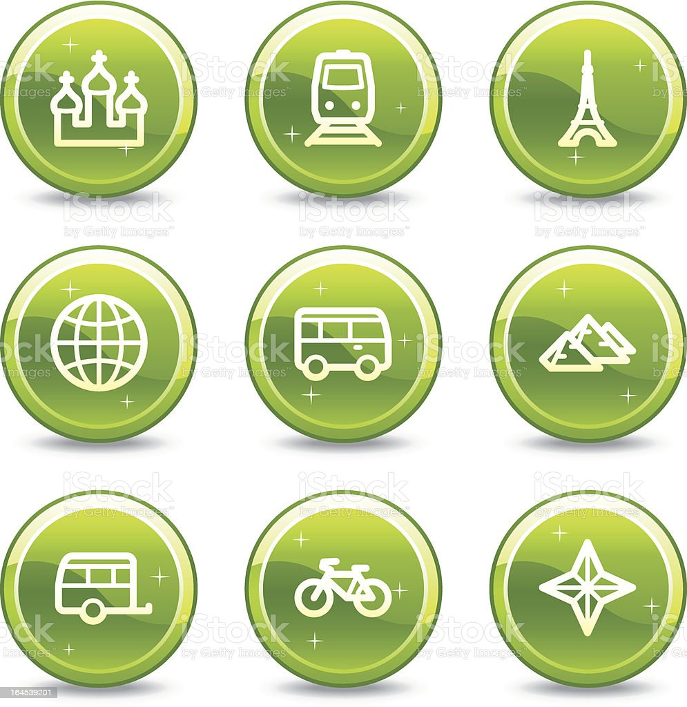 Travel and transport web icons set 2, green  buttons series royalty-free stock vector art