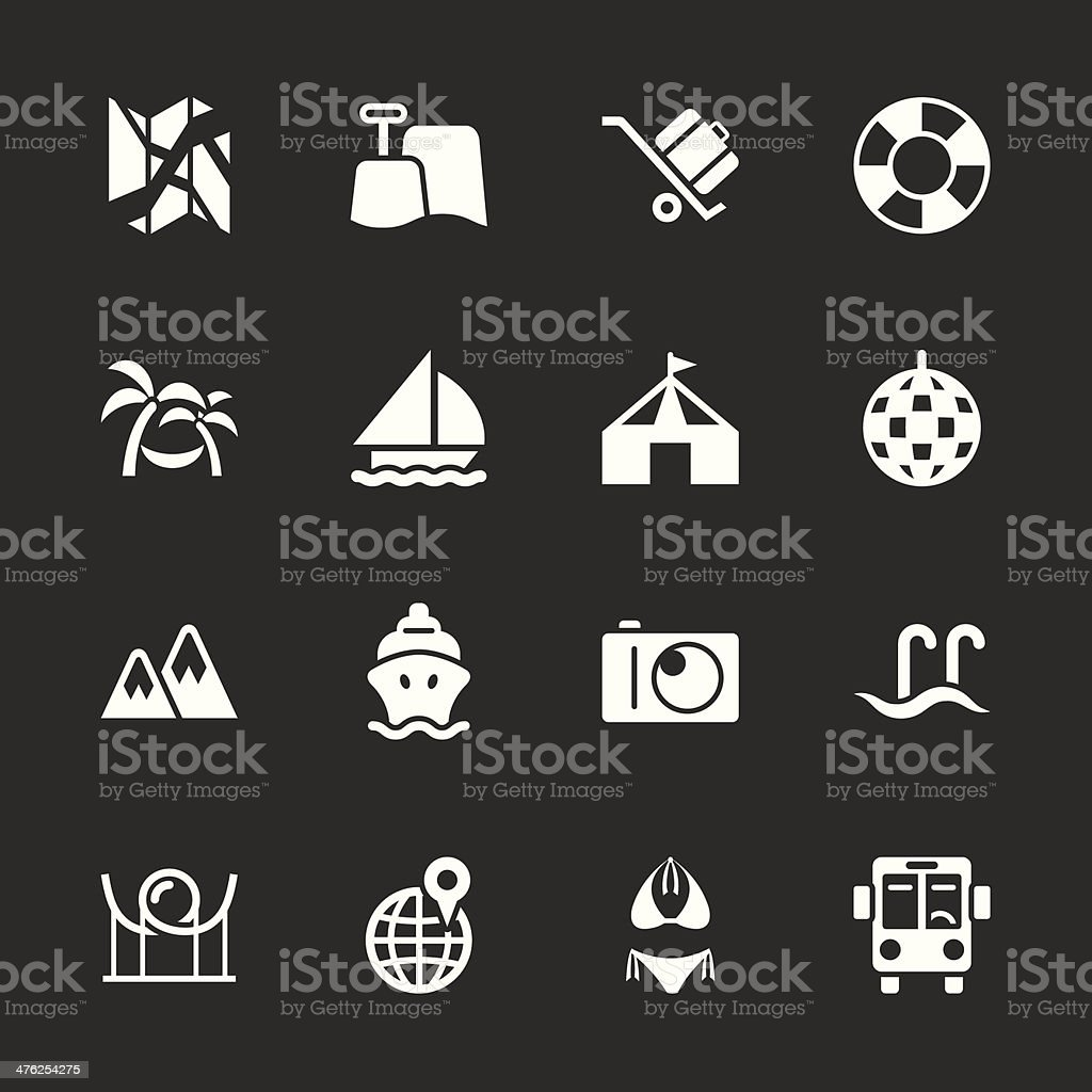 Travel and Vacation Icons 3 - White Series | EPS10 royalty-free stock vector art