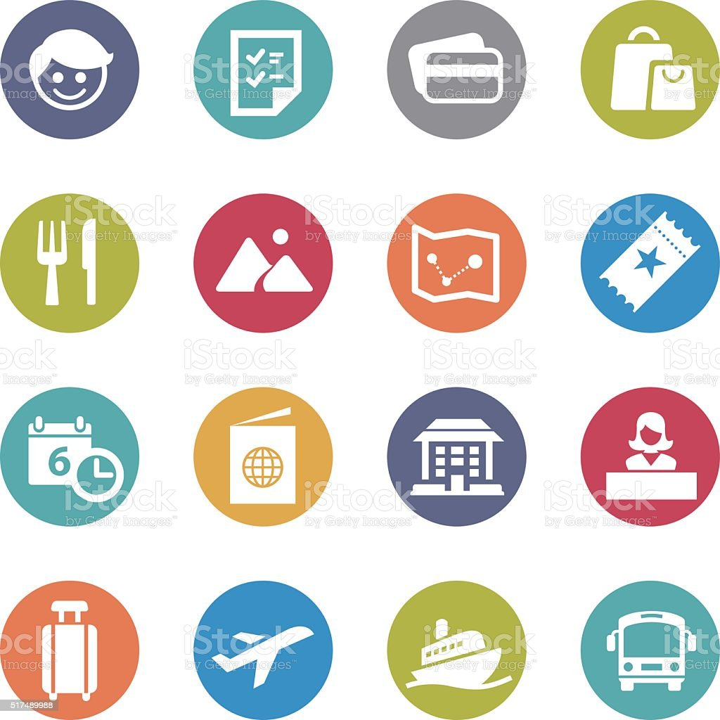 Travel and Vacation Icons - Circle Series vector art illustration
