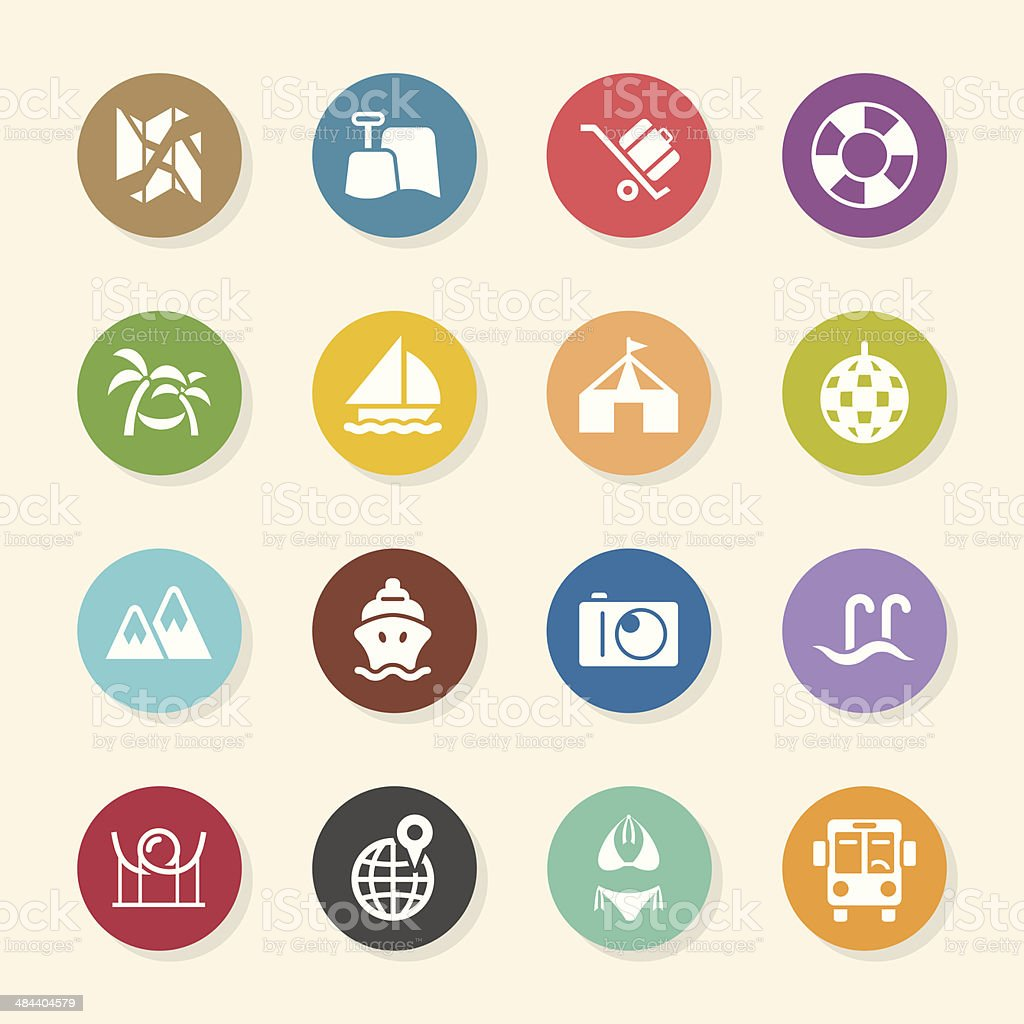 Travel and Vacation Icons Set 3 - Color Circle Series royalty-free stock vector art