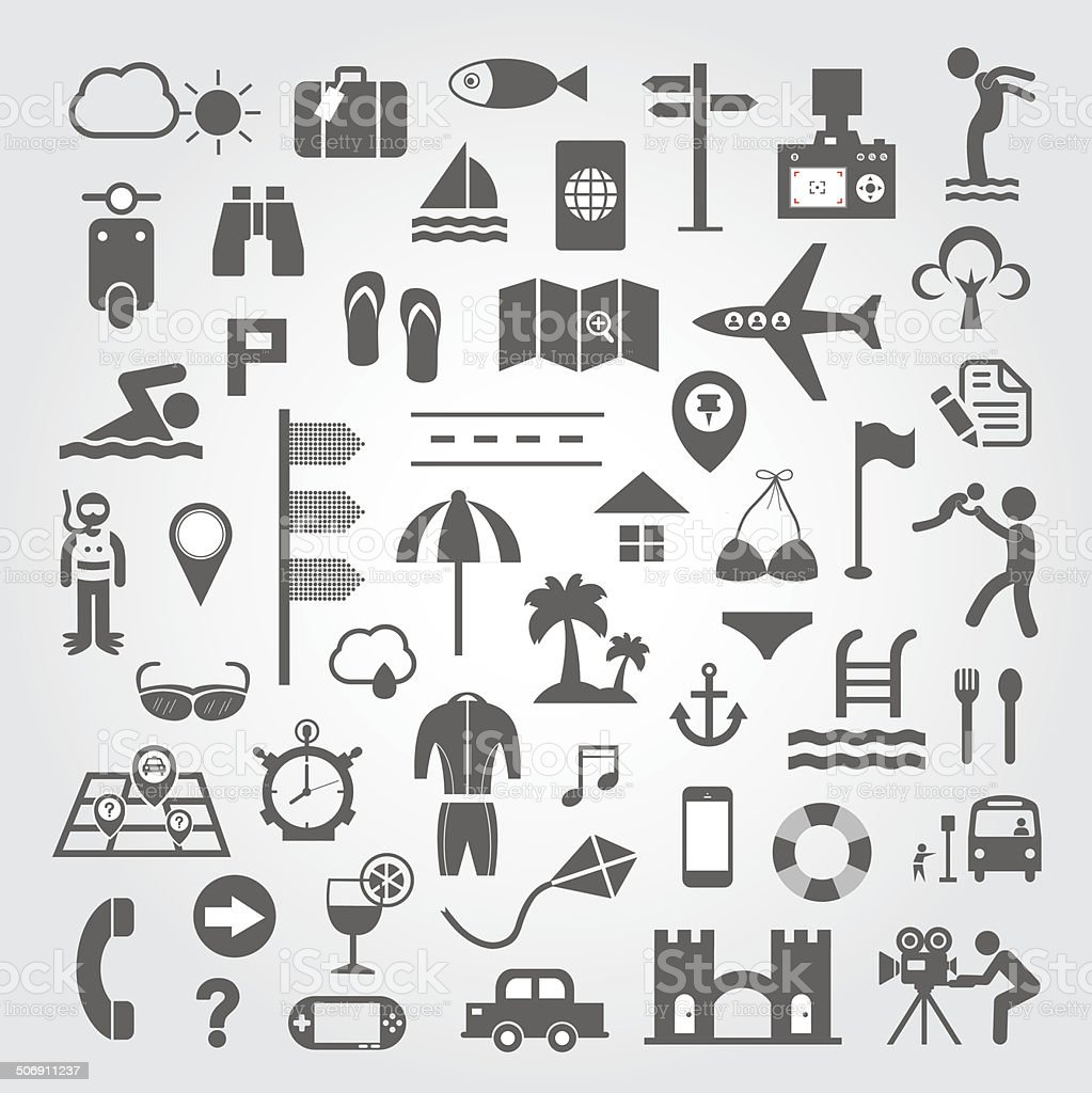 Travel and vacation icons set vector art illustration