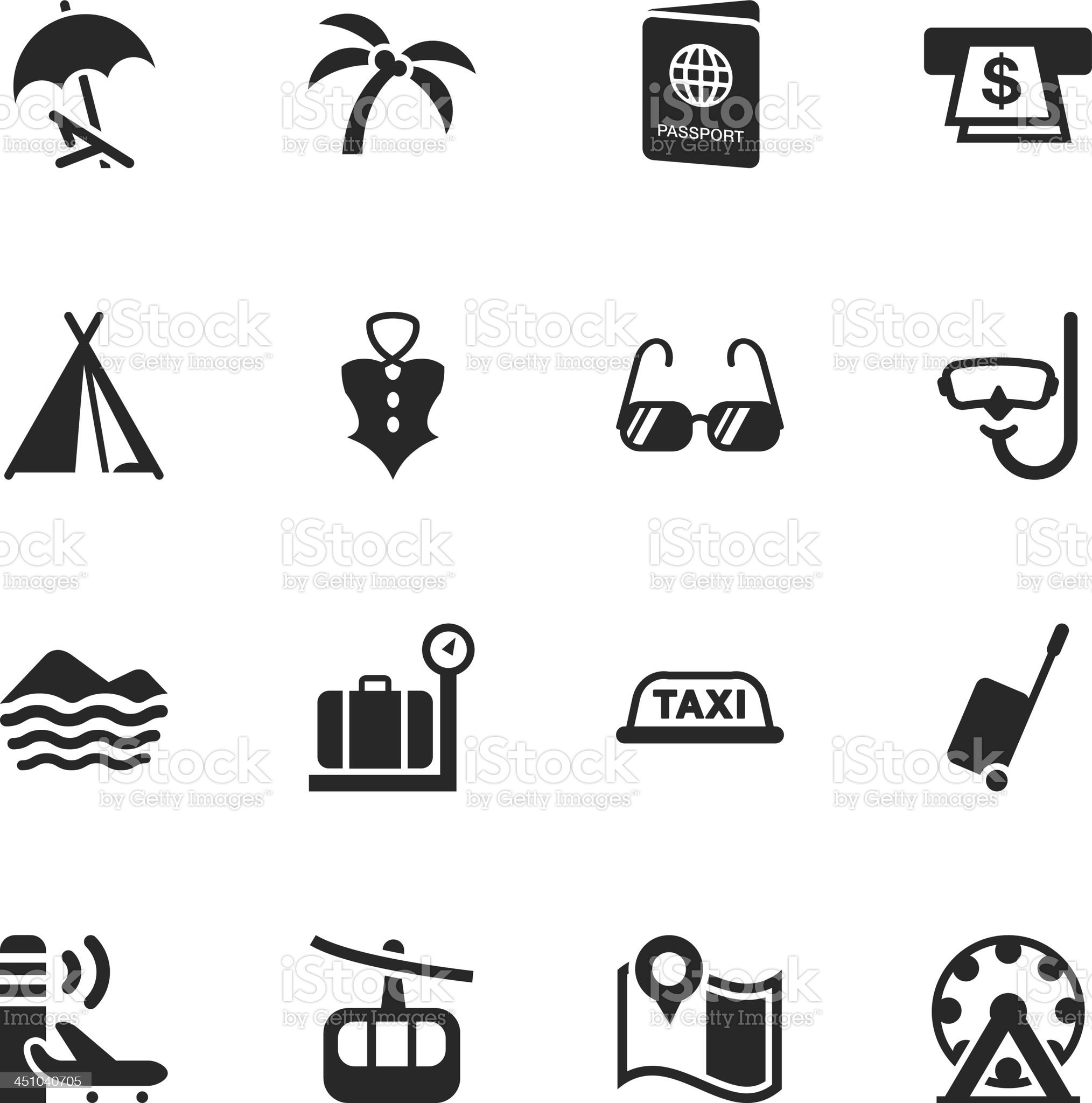 Travel and Vacation Silhouette Icons | Set 2 royalty-free stock vector art