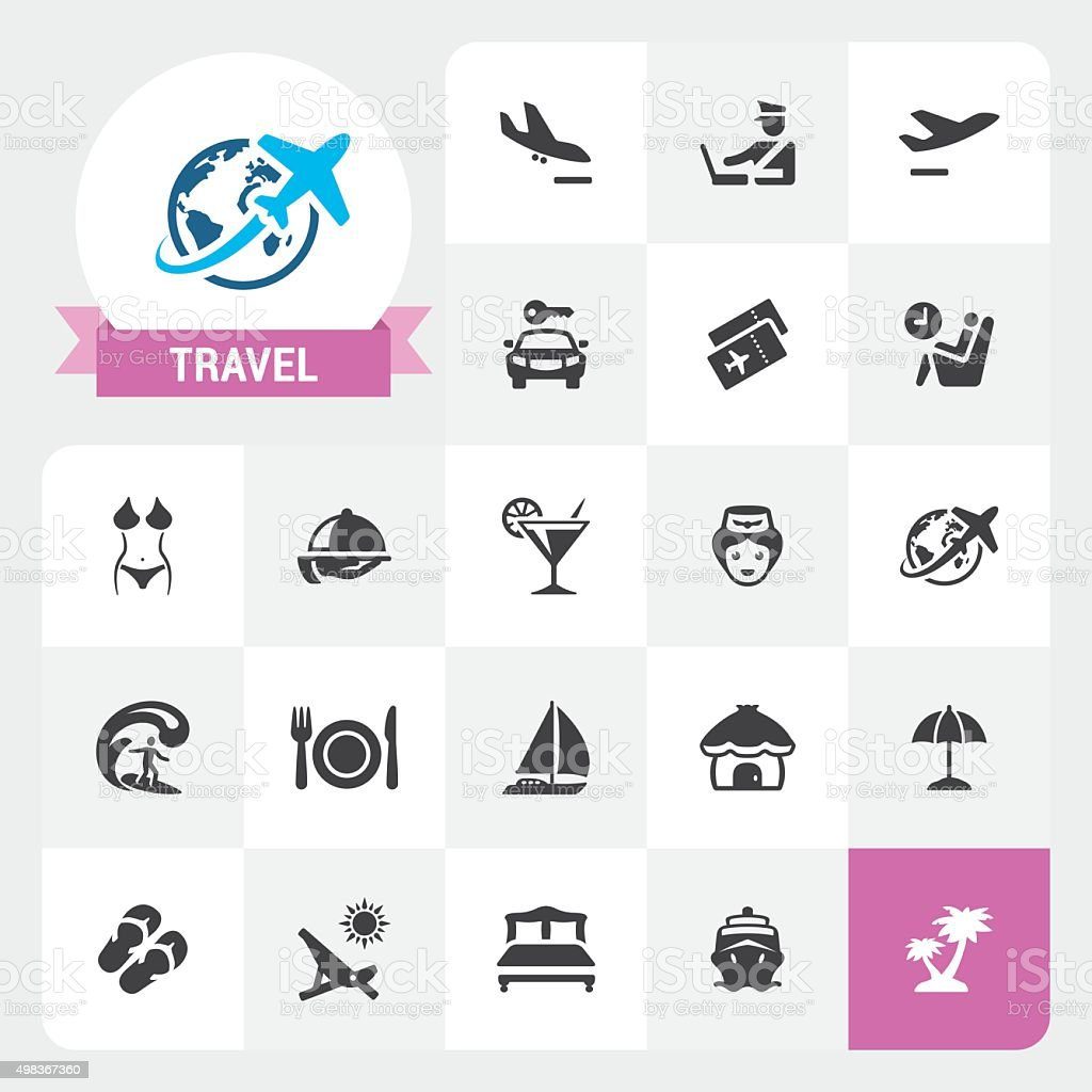 Travel and Vacations base vector icons and label vector art illustration