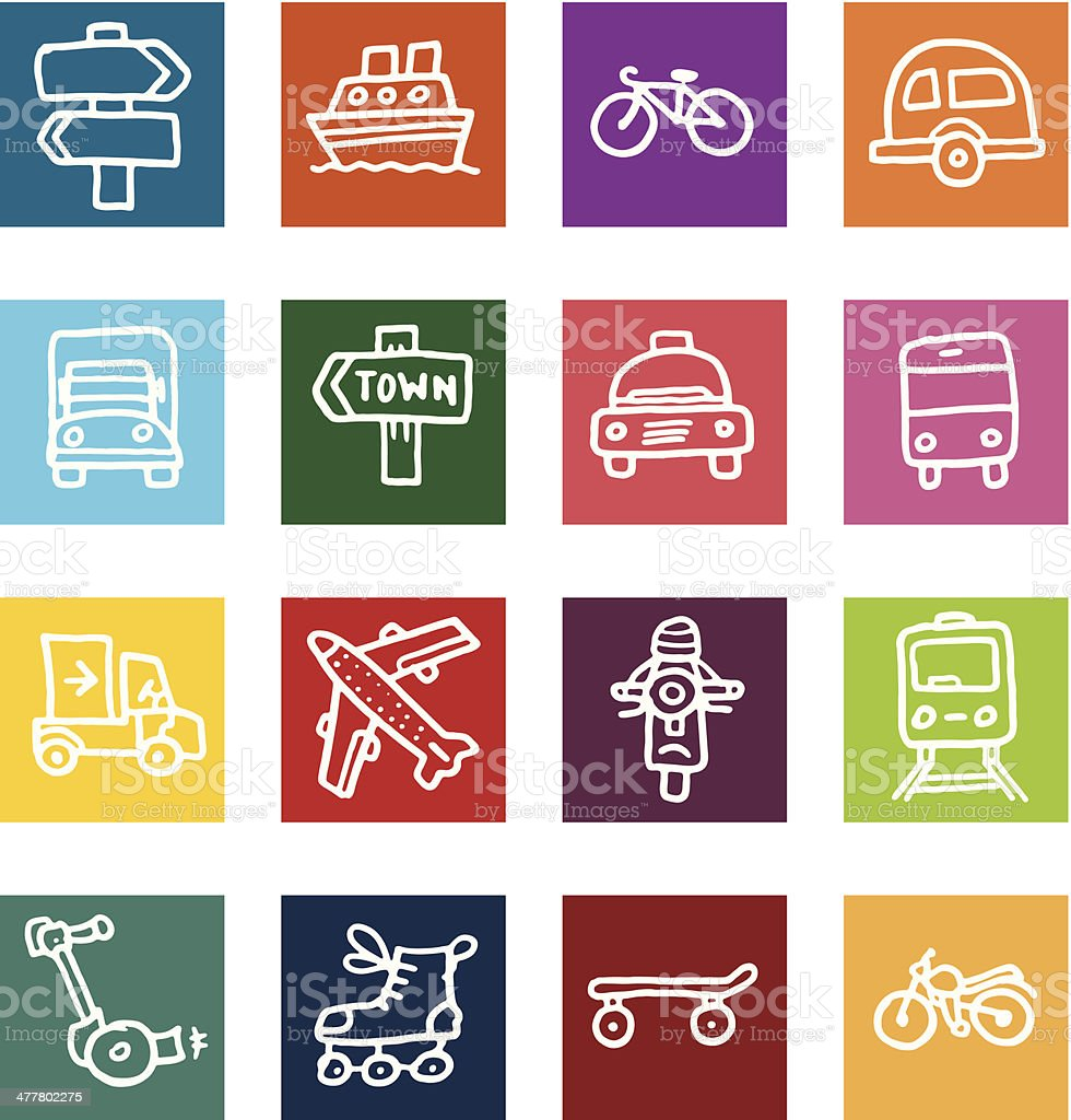 Travel and vehicle block icons icon set royalty-free stock vector art