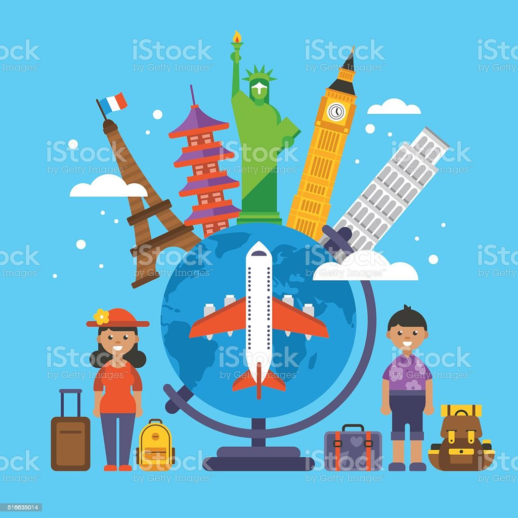 Travel around the world concept. Flat elements for web graphics vector art illustration