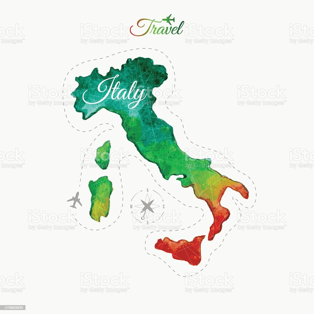 Travel around the  world. Italy. Watercolor map vector art illustration