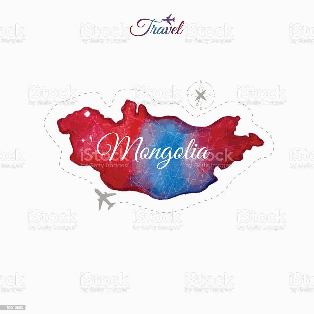 Travel around the  world. Mongolia. Watercolor map vector art illustration