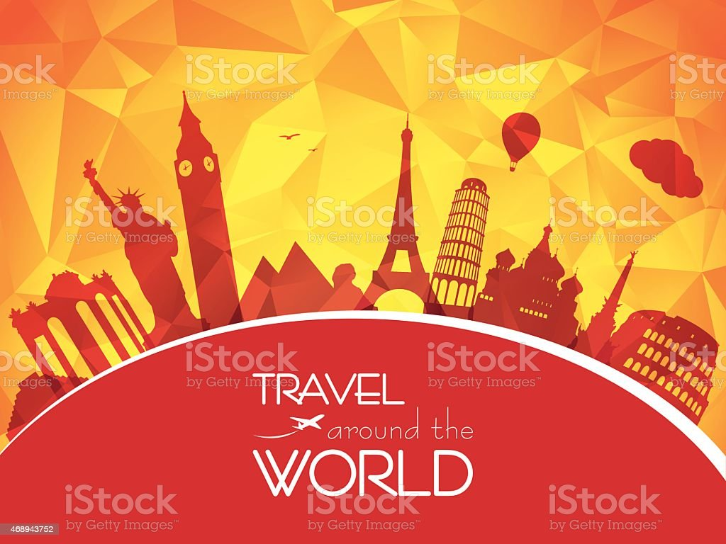 Travel around the world vector art illustration