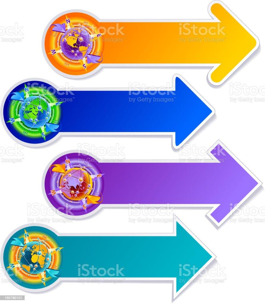 Travel arrow stickers royalty-free stock vector art