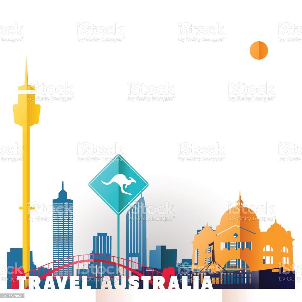 Travel Australia paper cut world monuments vector art illustration