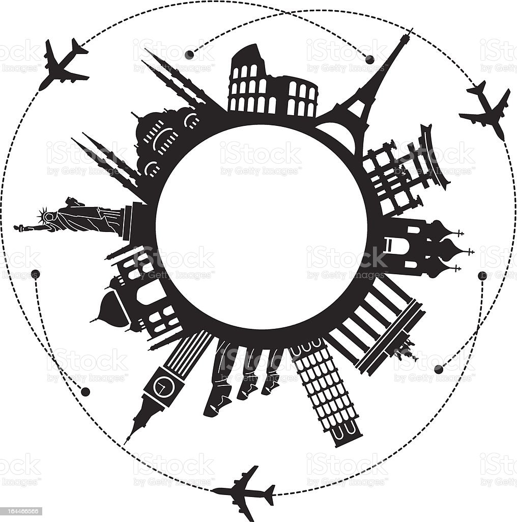Travel background air black vector art illustration