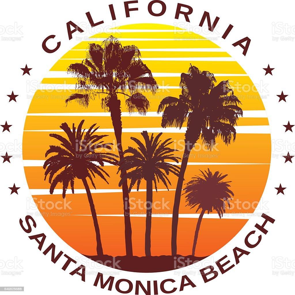 Travel Background for Santa Monica, California. vector art illustration