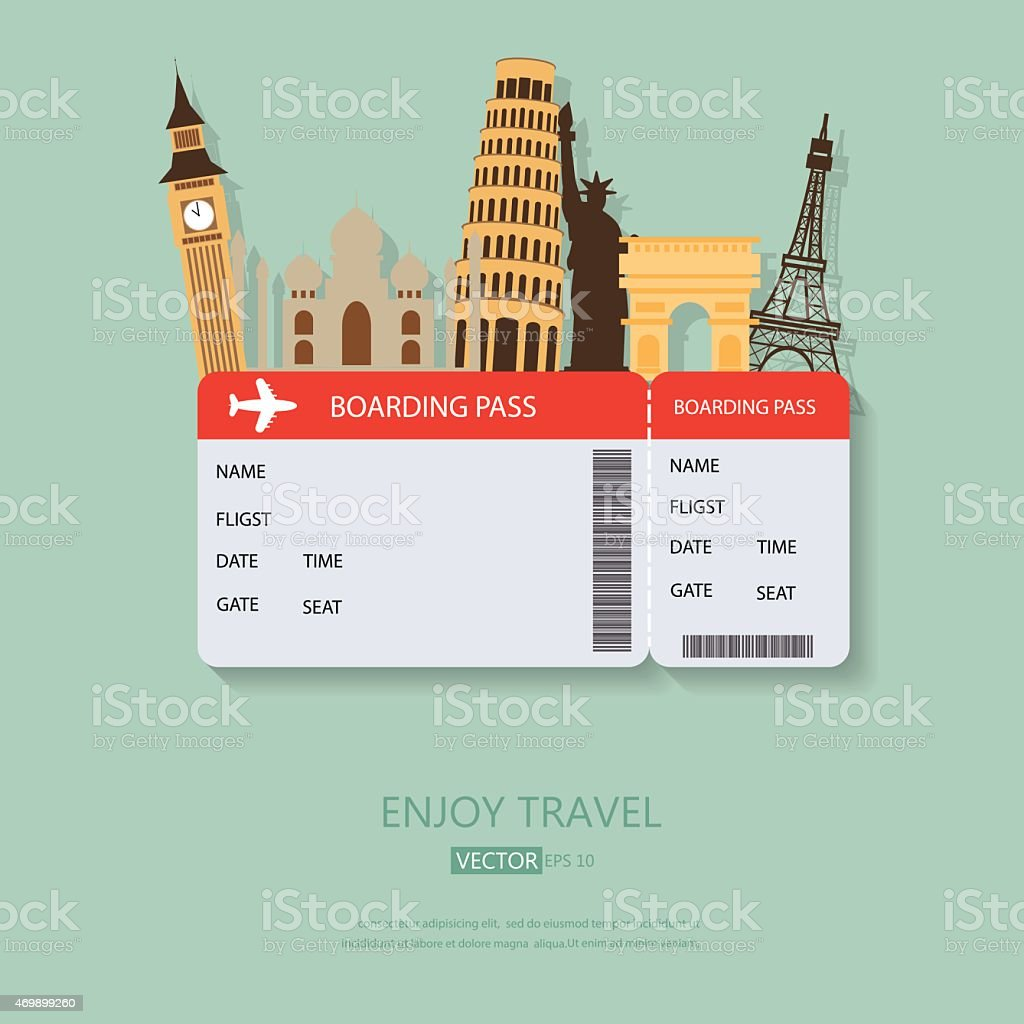 A travel background with boarding pass and tourist spots vector art illustration