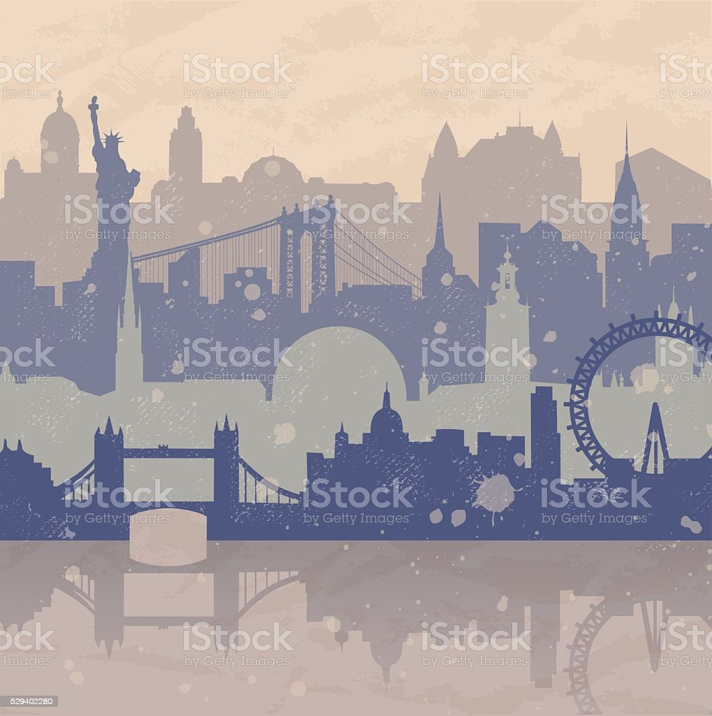 Travel Background with different cities vector art illustration