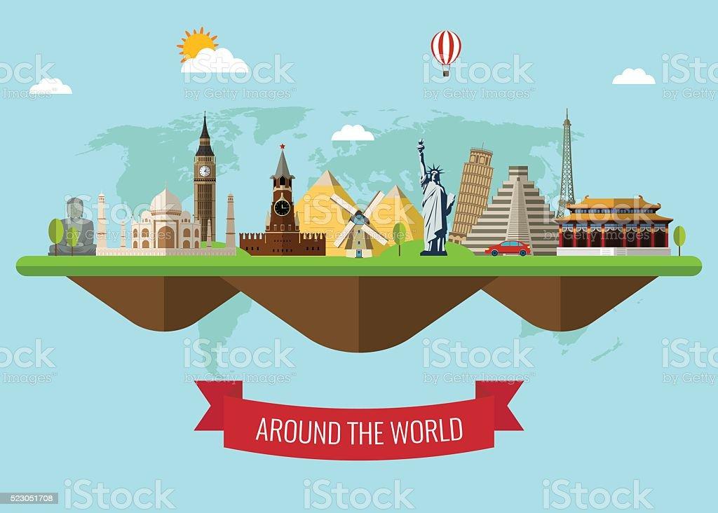 Travel background with famous World Landmarks icons. Vector Illustration vector art illustration