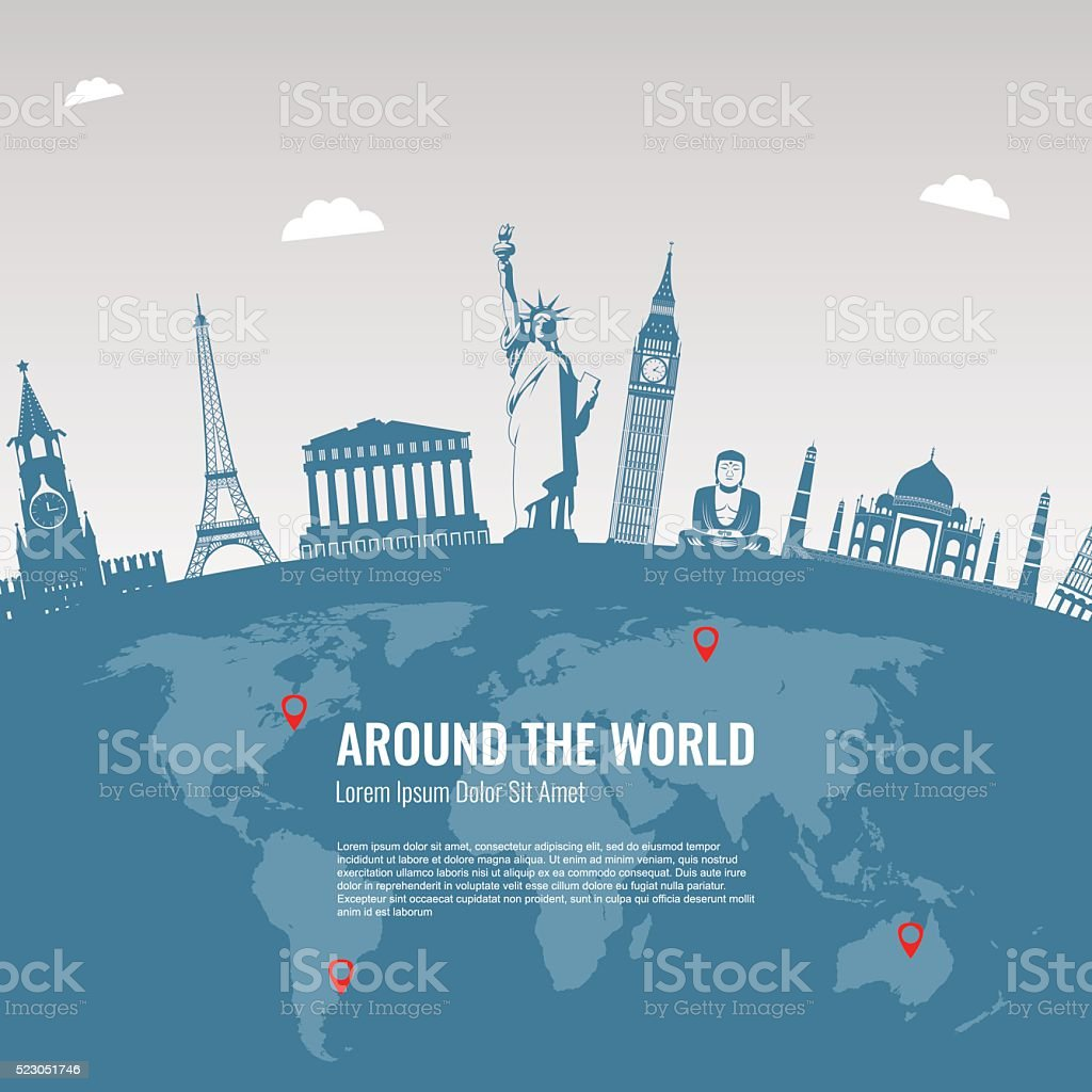 Travel background with famous World Landmarks icons. Vector Illustration royalty-free stock vector art