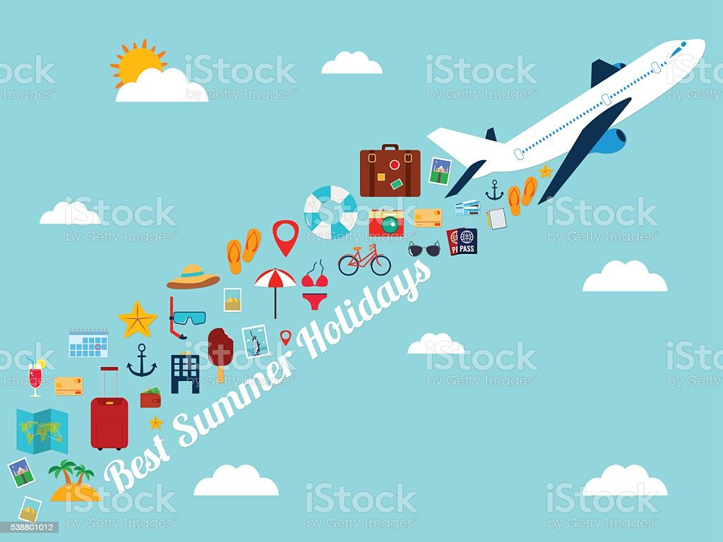Travel background with flat icons. Summer holidays background. royalty-free stock vector art