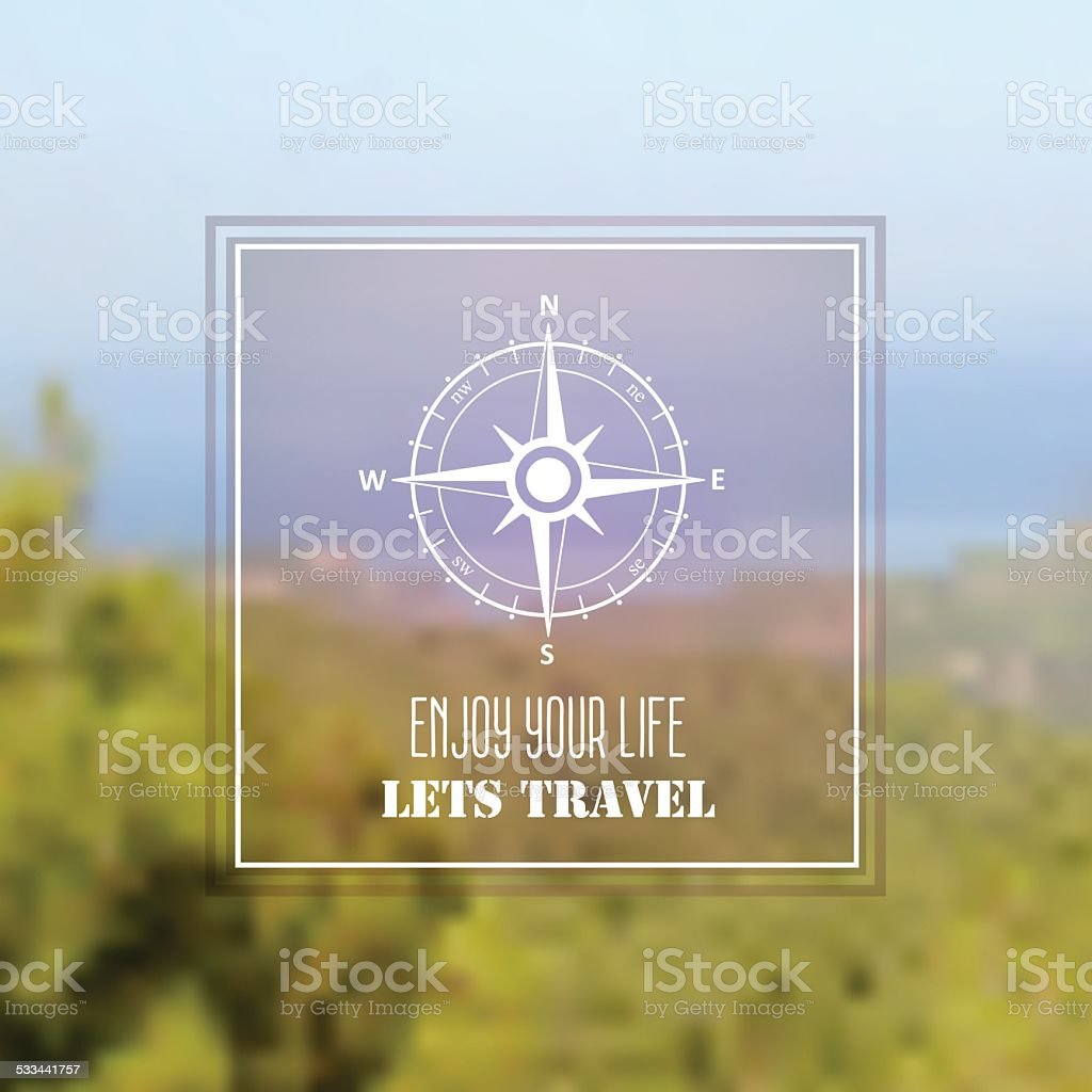 Travel background with wind rose compass symbol vector art illustration