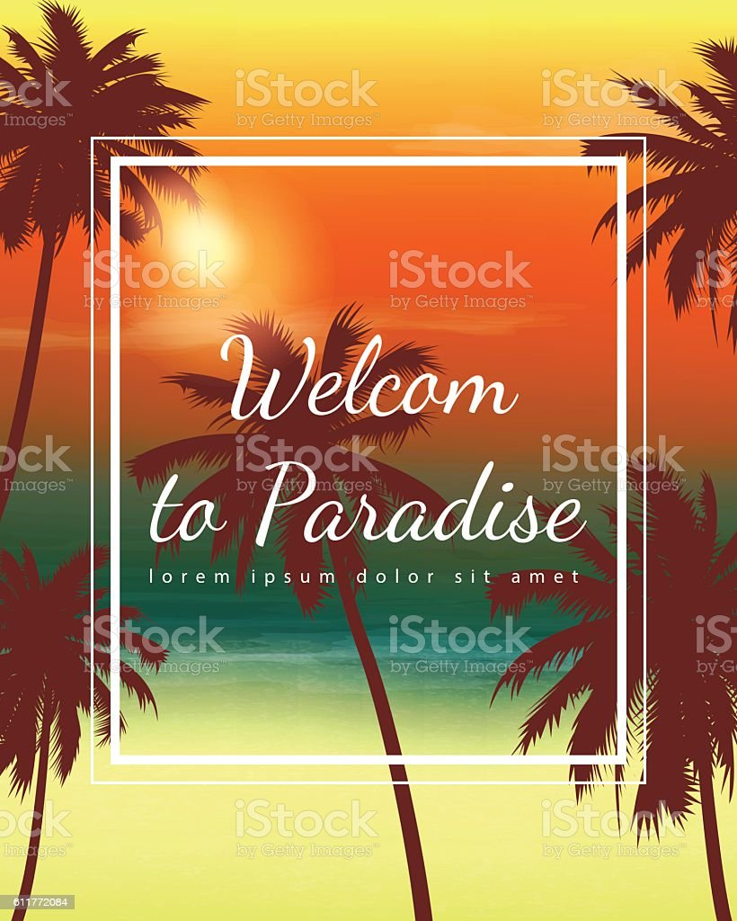 Travel Backgrounds with Palm Trees. Exotic landscape. Vector vector art illustration
