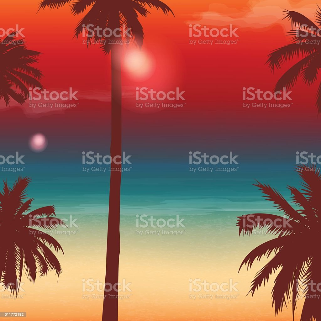 Travel Backgrounds with Palm Trees. Exotic landscape. Vector royalty-free stock vector art