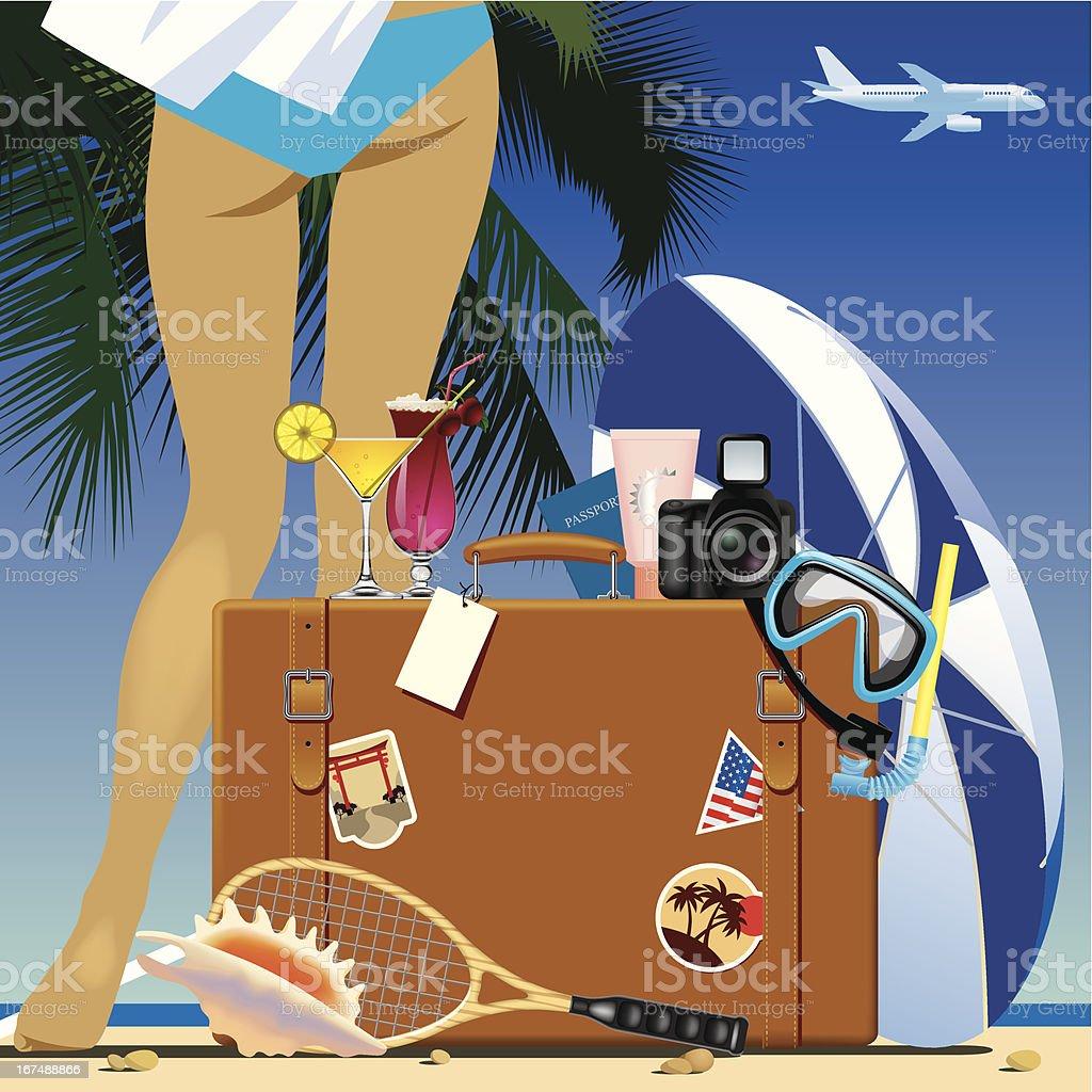 Travel bag vector art illustration