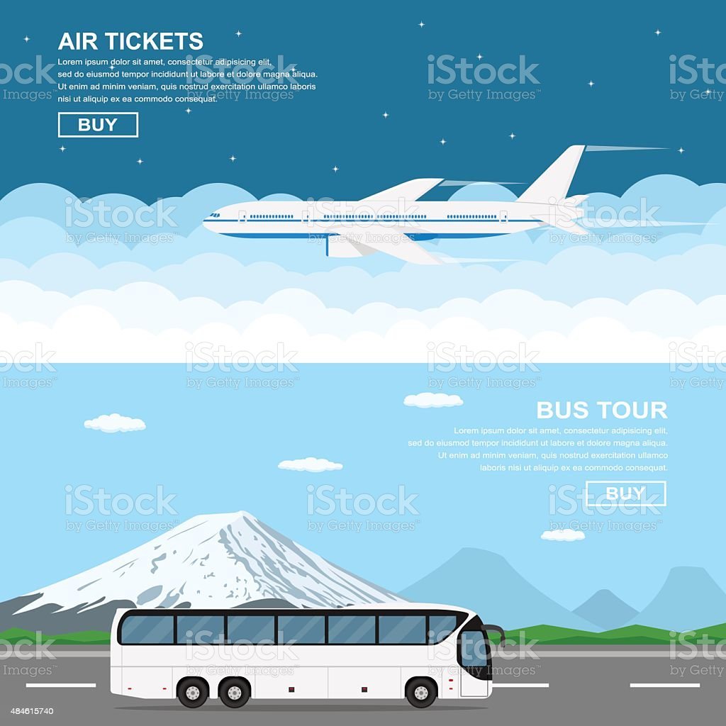 travel banners vector art illustration