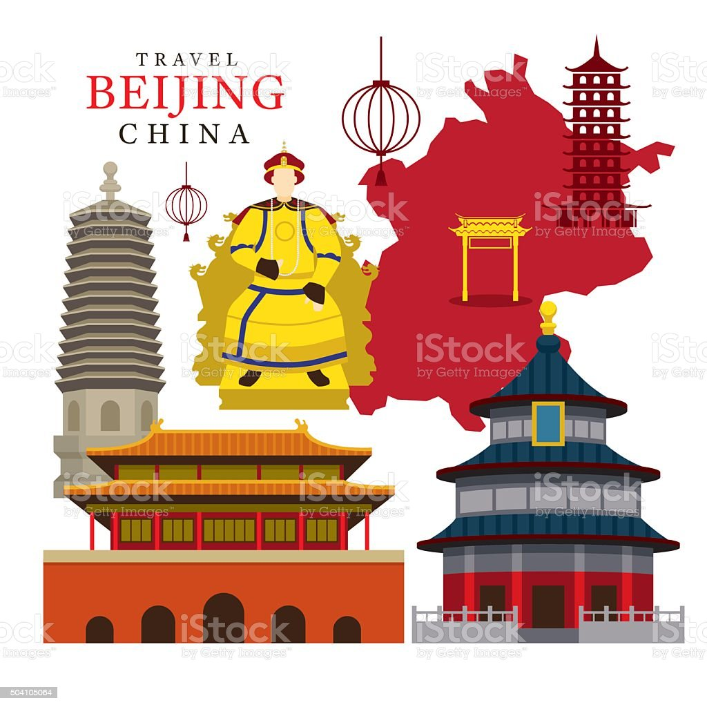 Travel Beijing, China vector art illustration