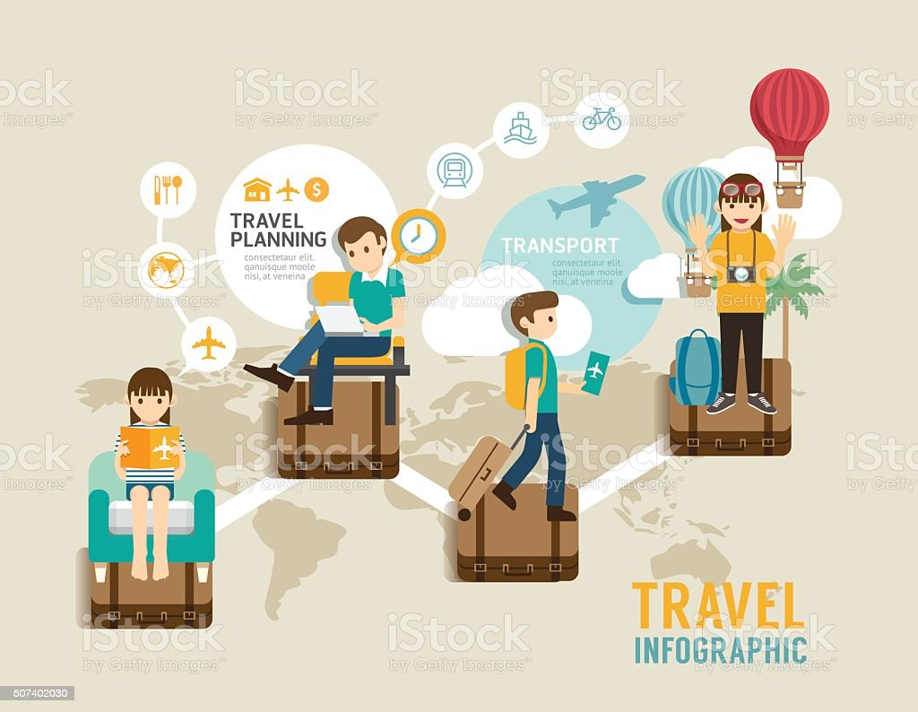 Travel board game flat concept infographic step to world travel vector art illustration