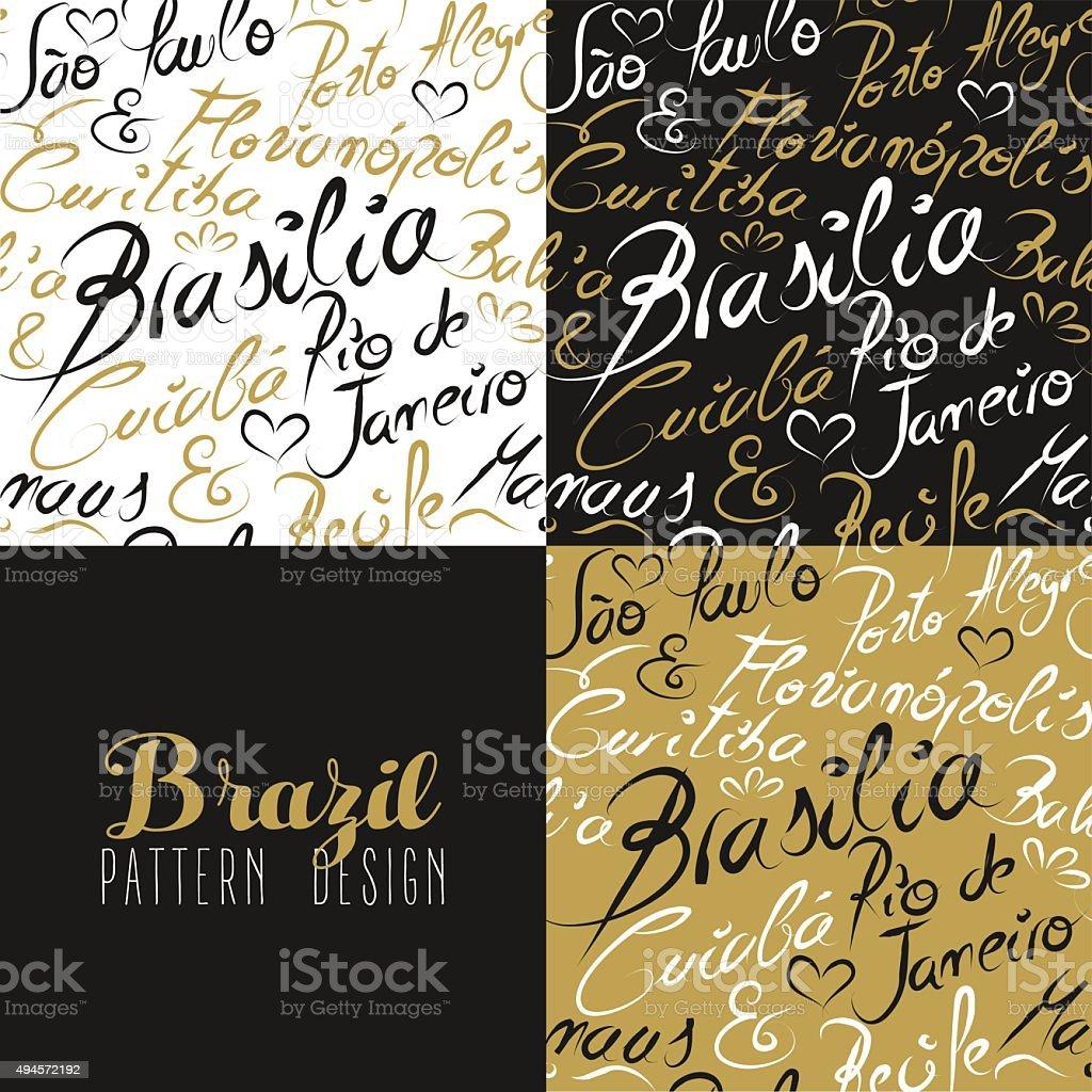 Travel brazil south america rio city pattern gold vector art illustration