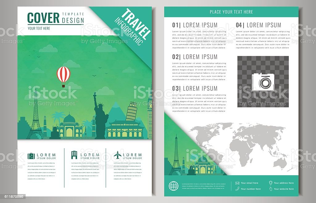 Travel brochure design with famous landmarks and world map. royalty-free stock vector art