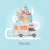 Travel by camper. World Travel.