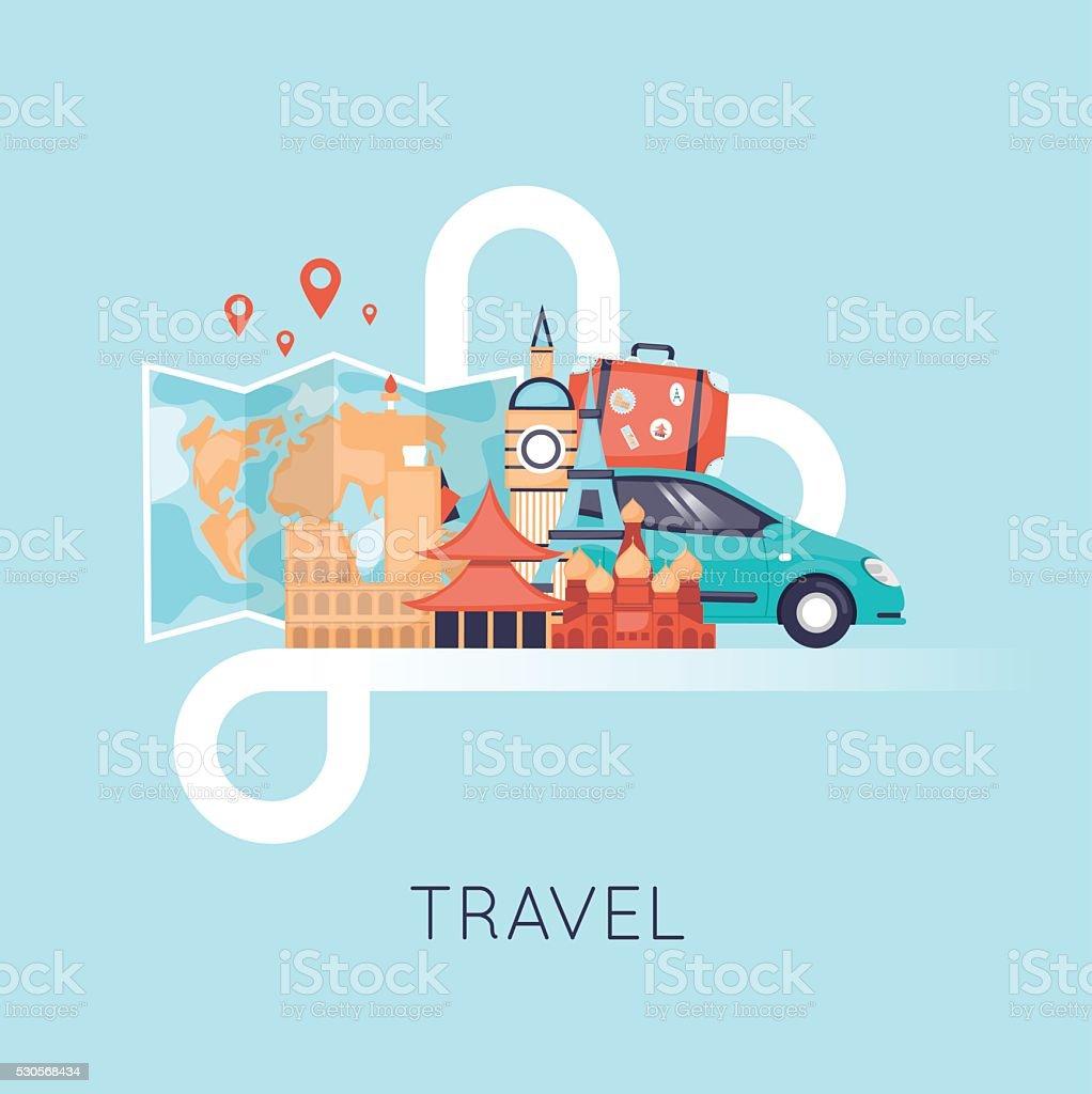 Travel by car. World Travel. Planning summer vacations. Summer holiday. vector art illustration