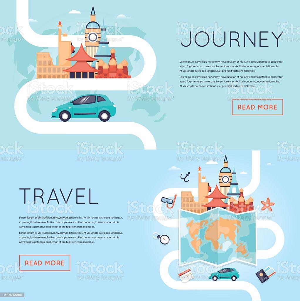 Travel by car. World Travel. vector art illustration