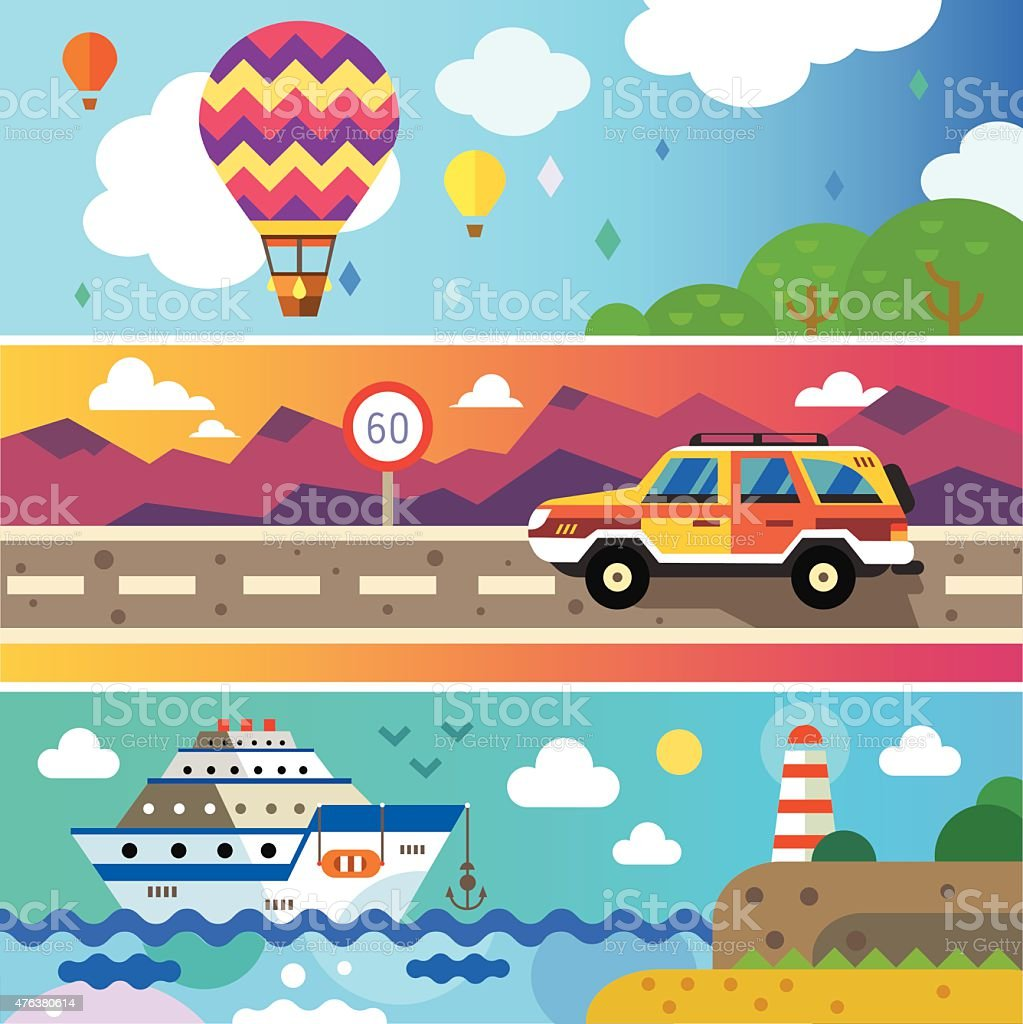 Travel by land, sea and air. vector art illustration