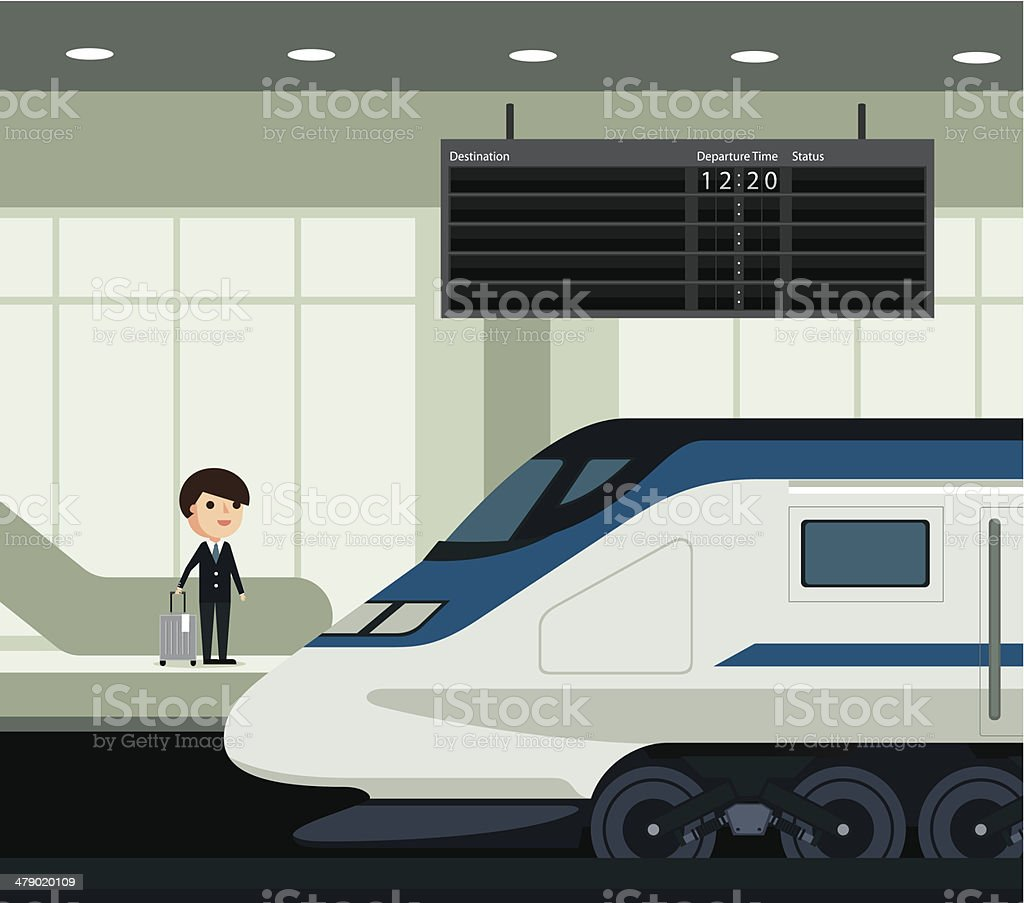 Travel by train vector art illustration