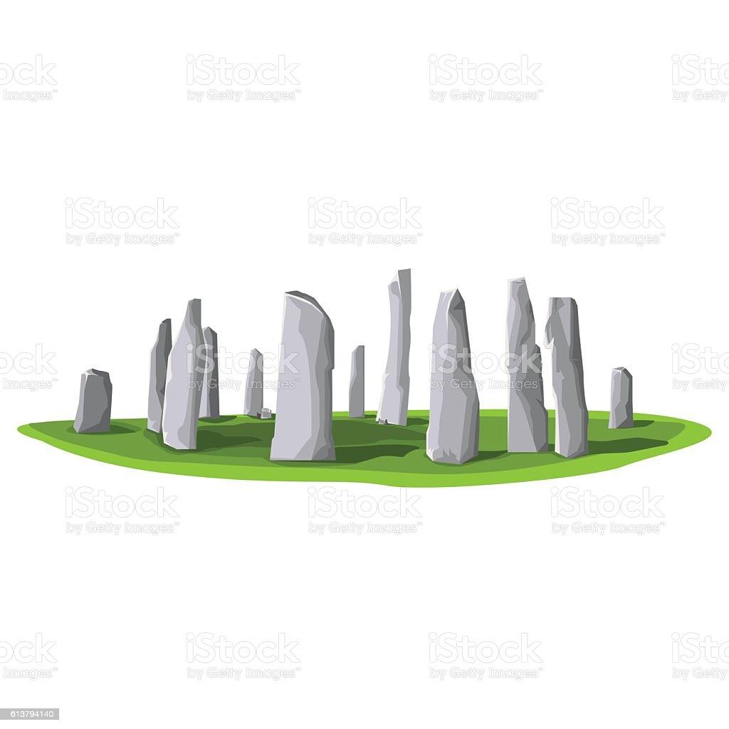 Travel Callanish Standing Stones. vector art illustration