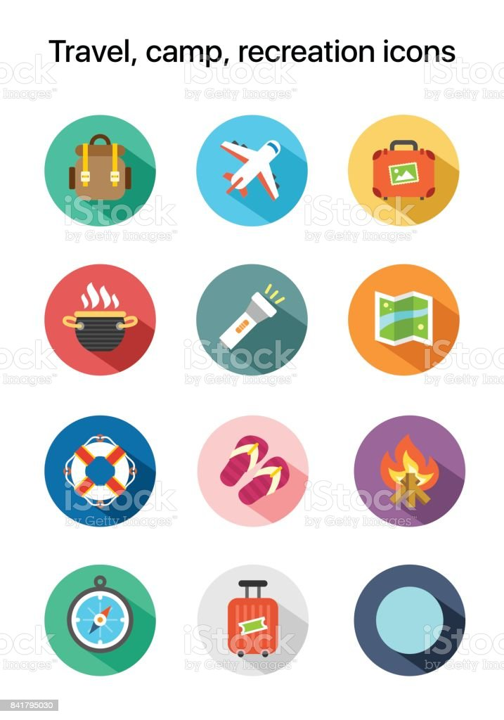 Travel, camp, recreation flat colored vector icons vector art illustration