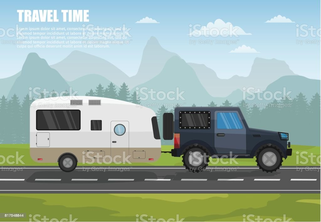 Travel camper trailer outdoor with mountains colorful vector flat banners and tourism banner set. vector art illustration