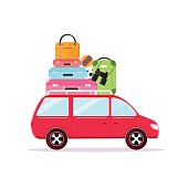 Travel Car Tourism and Vacation Together. Vector