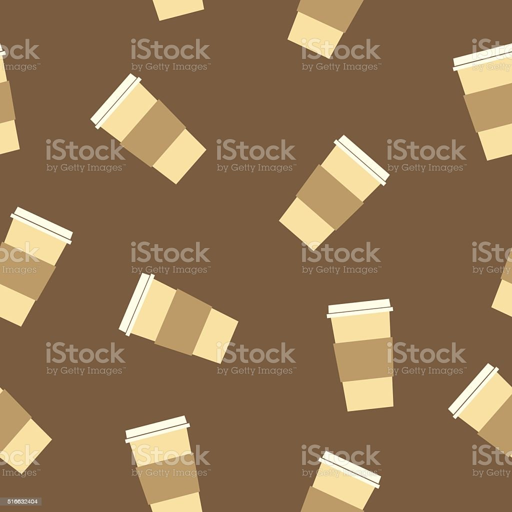 Travel Coffee Cups Pattern vector art illustration